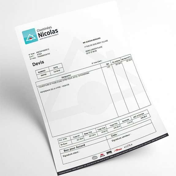 Creation papier entete facture devis graphiste cheminees for Devis graphiste